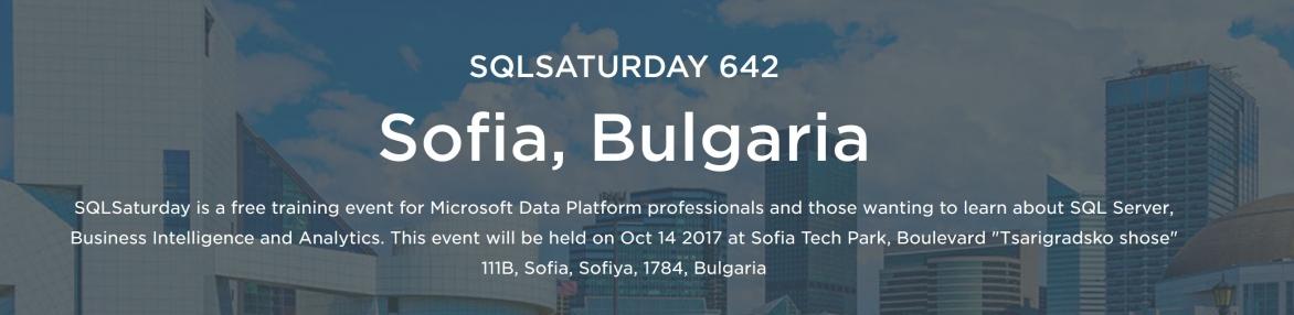 SQLSaturday Sofia 2017